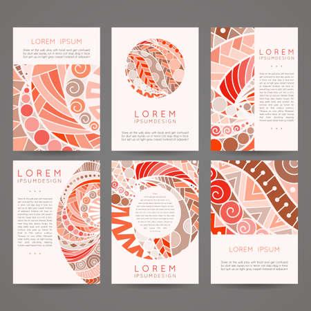 portadas de libros: Set of vector design templates. Brochures in random colorful style. Vintage frames and backgrounds. Zentangle designs. Vectores