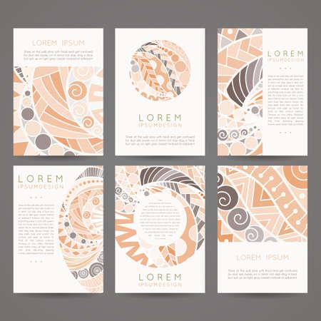 portadas: Conjunto de plantillas de diseño de vectores. Folletos de estilo colorido al azar. Marcos y fondos de la vendimia. Diseños Zentangle.