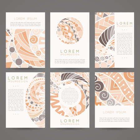 Set of vector design templates. Brochures in random colorful style. Vintage frames and backgrounds. Zentangle designs. Illusztráció