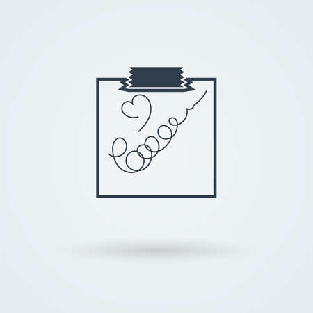 scotch: Note Paper with Scotch. Vector illustration. . Pictogram. Button. Illustration