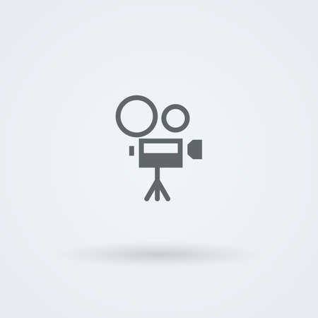 past production: Vector icon camcorder. . Pictogram. Button.