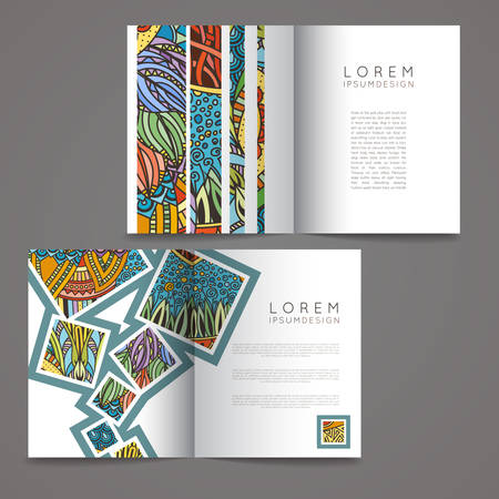 book design: Set of vector design templates. Magazines in random colorful style. Vintage backgrounds. Zentangle designs.