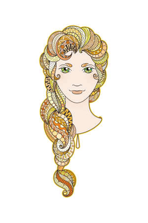 braid: Beautiful girl with intricately patterned, zentangle braid and bright eyes. Vector portrait. Amber and gold locks.