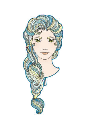 bright eyes: Beautiful girl with intricately patterned, zentangle braid and bright eyes. Vector portrait. Sea locks.