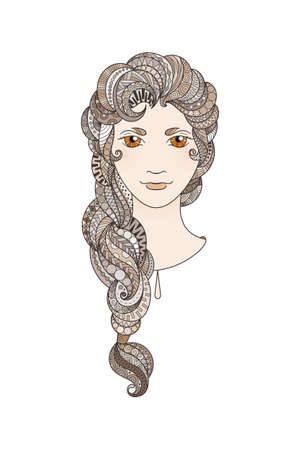 braid: Beautiful girl with intricately patterned, zentangle braid and bright eyes. Vector portrait. Cinnamon locks.