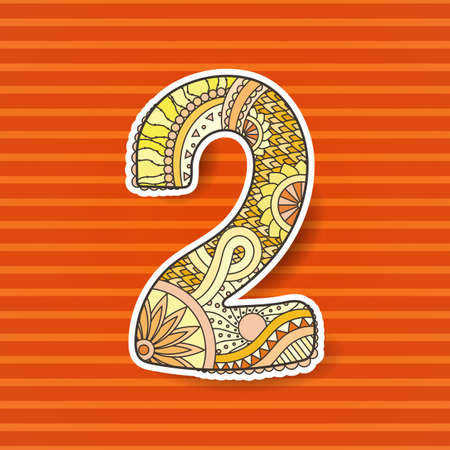 number 2: Zentangle number. Vector decorative number can be used for web design, print cards, booklets, flyers, textile t-shirts and other.