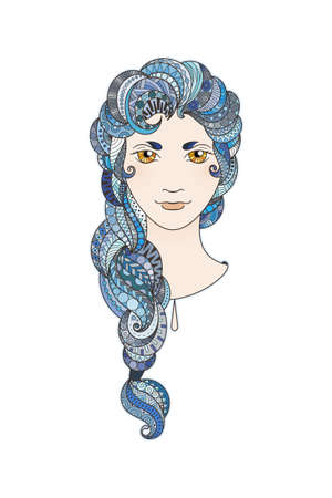 braid: Beautiful girl with intricately patterned, zentangle braid and bright eyes. Vector portrait. Sapphire locks. Illustration