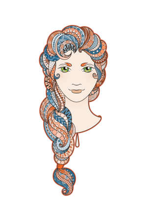 fashion portrait: Beautiful girl with intricately patterned, zentangle braid and bright eyes. Vector portrait. Berry locks.