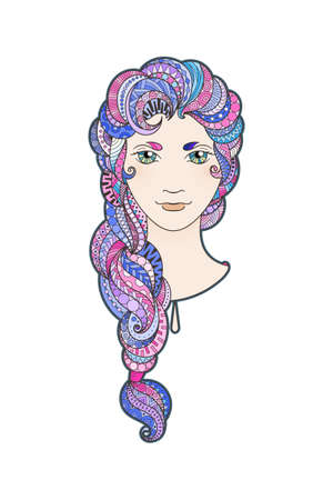 braid: Beautiful girl with intricately patterned, zentangle braid and bright eyes. Vector portrait. Pink locks.