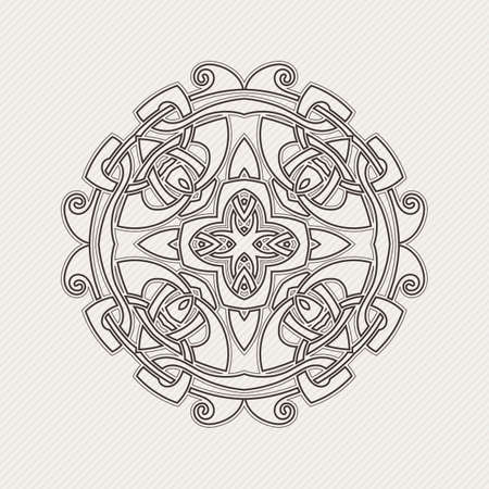Vector mandala. Gothic lace tattoo. Celtic weave with sharp corners. The circular pattern. Vector Illustration
