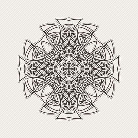 ベクトル マンダラ。ゴシック レース タトゥー。鋭い角を持つケルト織り。円形パターン。