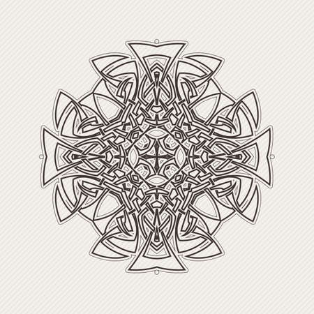 Vector mandala. Gothic lace tattoo. Celtic weave with sharp corners. The circular pattern. Illustration
