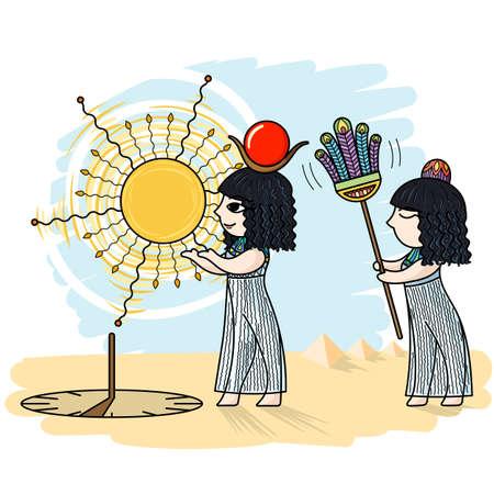 Vector illustration d'un Egyptien et un cadran solaire. Désert, sables.