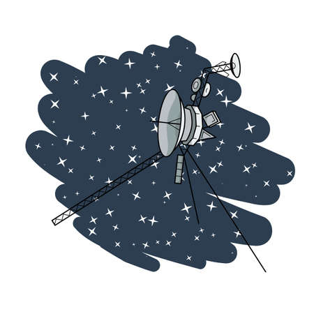 Vector illustration with space satellite in deep space. Voyager. Vector Illustration