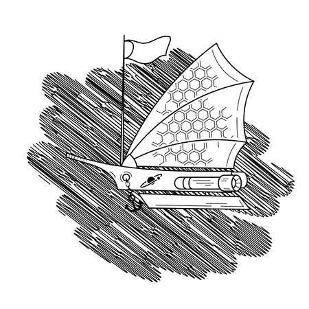 Ilustración Del Vector Con La Nave Espacial De Vela En El Fondo De ...