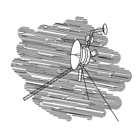 Vector illustration with space satellite in deep space. Voyager.