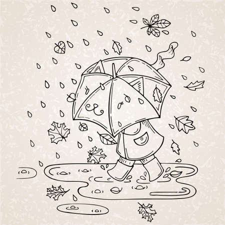 Vector illustration of cute kid with umbrella in rainy season with leaf fall.