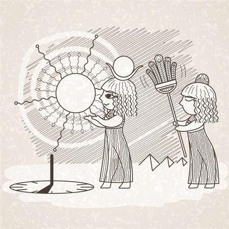 egyptian woman: Vector illustration of an Egyptian and a sundial. Illustration