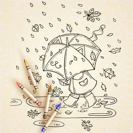 rainy season: Vector illustration of cute kid with umbrella in rainy season with leaf fall.
