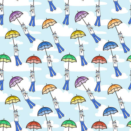 strong wind: Vector seamless pattern with umbrellas flying at sailors. Strong wind. Illustration