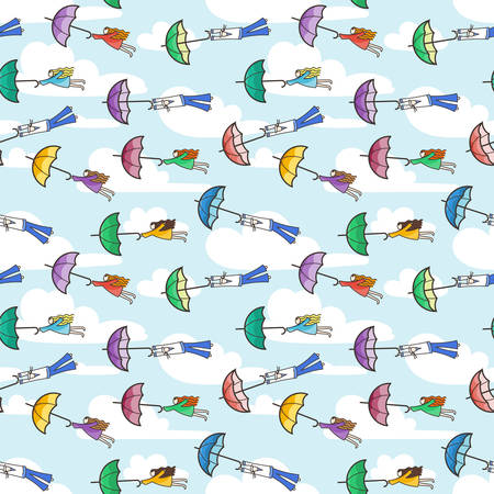 Vector seamless pattern with umbrellas flying at people. Strong wind.