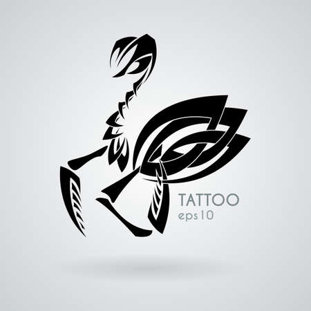 mantis: Vector image of a praying mantis style tribal tattoo. Black and white contrast intersection of sharp lines.