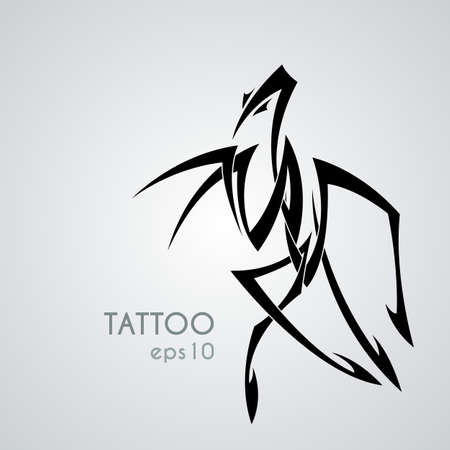 praying mantis: Vector image of a praying mantis style tribal tattoo. Black and white contrast intersection of sharp lines.