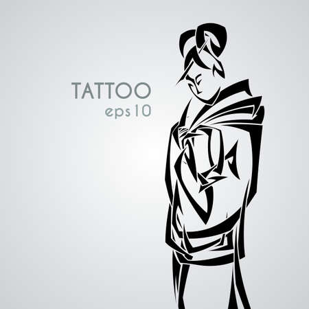 Illustration with graceful Japanese woman in a kimono with a classic hair style. Tribal tattoo. Black and white pointed weave.