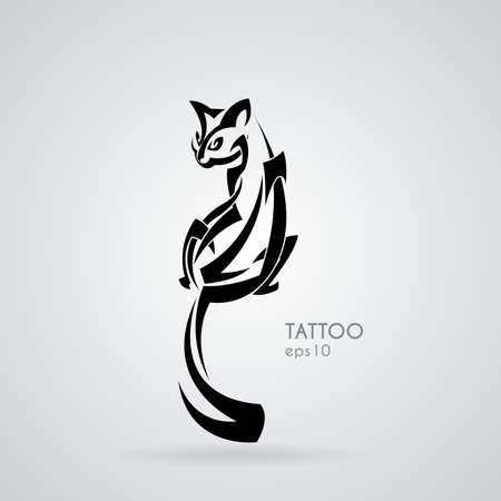 Vector image of a kindly and friendly domestic cat in the style of tribal tattoos. Gothick style. Illustration