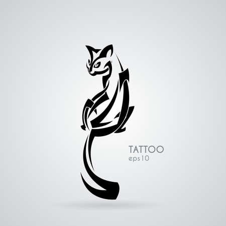 Vector image d'un chat domestique aimable et amicale dans le style de tatouages ??tribaux. Le style Gothick. Vecteurs