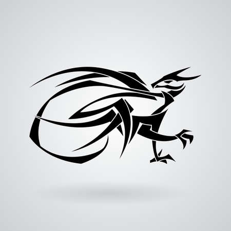 curve claw: The stylized image of a dragon. Vector. Tattoo.