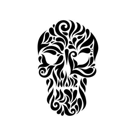tatto: Tribal tatto skull. Ornate patterned illustration.