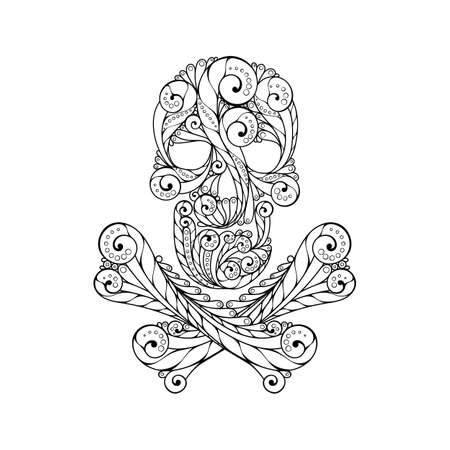 Tribal tatto skull. Ornate patterned illustration.