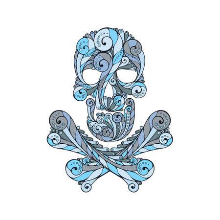 tatto: Tribal tatto skull. Ornate patterned illustration. Colored symbol. Illustration