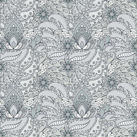 mhendi: Seamless pattern of abstract flowers and paisley elements in Indian mehendi style.