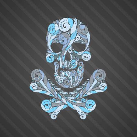 Tribal tatto skull. Ornate patterned illustration. Colored symbol. Illustration