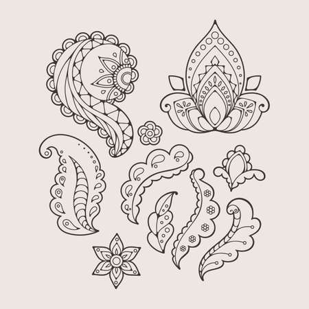 mhendi: Set of abstract flowers and paisley elements in Indian mehendi style. Template for mehndi ornaments. Illustration