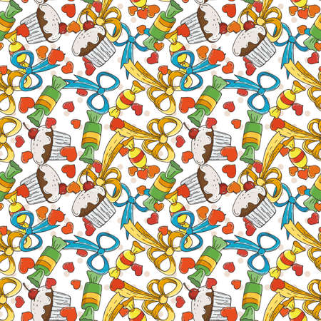 muffins: Vector Candy and Muffins Seamless Pattern. Cakes, Sweets, Bows.