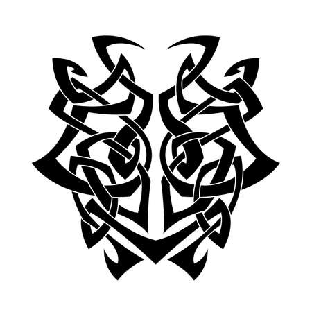 Elegant difficult curled ornamental gothic tattoo. Celtic style. Maori. Weaving. Monochrome image.