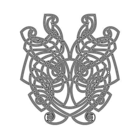 spiked: Elegant difficult curled ornamental gothic tattoo. Celtic style. Maori. Weaving. Monochrome image.