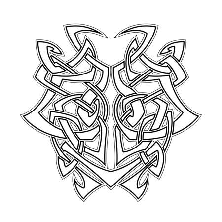 cult: Elegant difficult curled ornamental gothic tattoo. Celtic style. Maori. Weaving. Monochrome image.