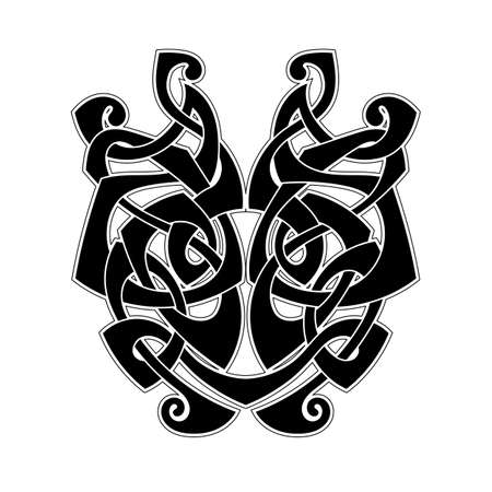 Elegant difficult curled ornamental gothic tattoo. Celtic style. Maori. Weaving. Monochrome image. Vector Illustration