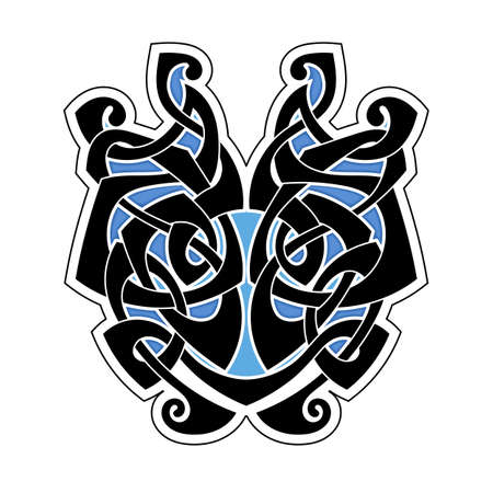 Elegant difficult curled ornamental gothic tattoo. Celtic style. Maori. Weaving. Colored image. Vector Illustration