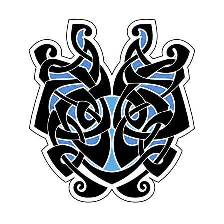 Elegante difícil rizada ornamental tatuaje gótico. estilo celta. Maorí. Tejeduría. imagen coloreada. Ilustración de vector