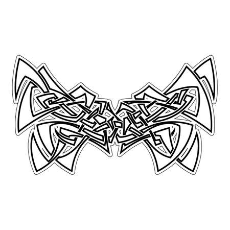 gothic style: Elegant difficult curled ornamental gothic tattoo. Celtic style. Maori. Weaving. Monochrome image.