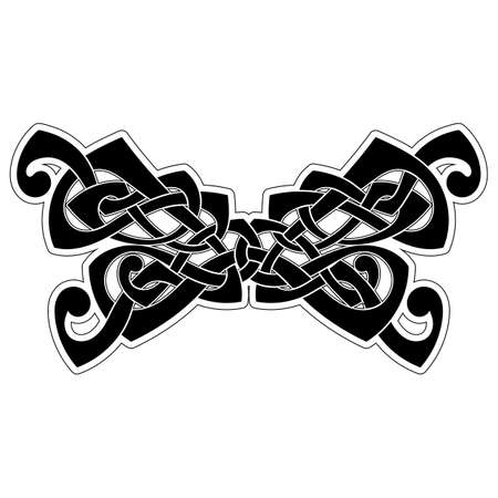 difficult: Elegant difficult curled ornamental gothic tattoo. Celtic style. Maori. Weaving. Monochrome image.