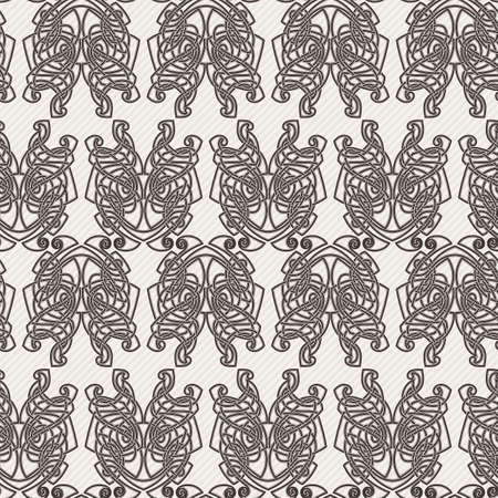 difficult: Elegant difficult curled ornamental gothic tattoo seamless pattern. Celtic style. Maori. Weaving. Monochrome image.