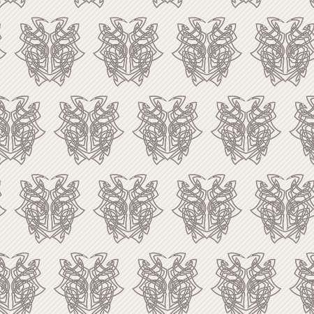 Elegant difficult curled ornamental gothic tattoo seamless pattern. Celtic style. Maori. Weaving. Monochrome image.