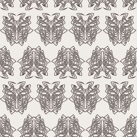 ornamental elements: Elegant difficult curled ornamental gothic tattoo seamless pattern. Celtic style. Maori. Weaving. Monochrome image.