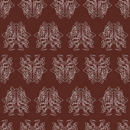 cult: Elegant difficult curled ornamental gothic tattoo seamless pattern. Celtic style. Maori. Weaving. Colored image.